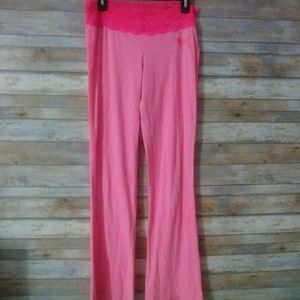Vs- lounge pink pants with lace top size M
